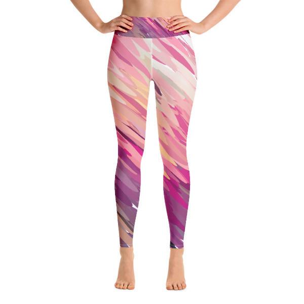 Yoga Leggings Pink Abstract