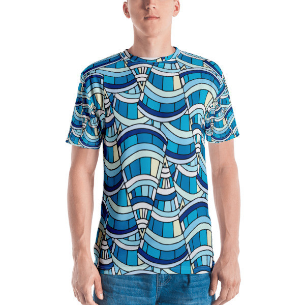 Men's T-shirt Blue Ornaments