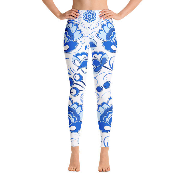 Yoga Leggings Blue Ornaments