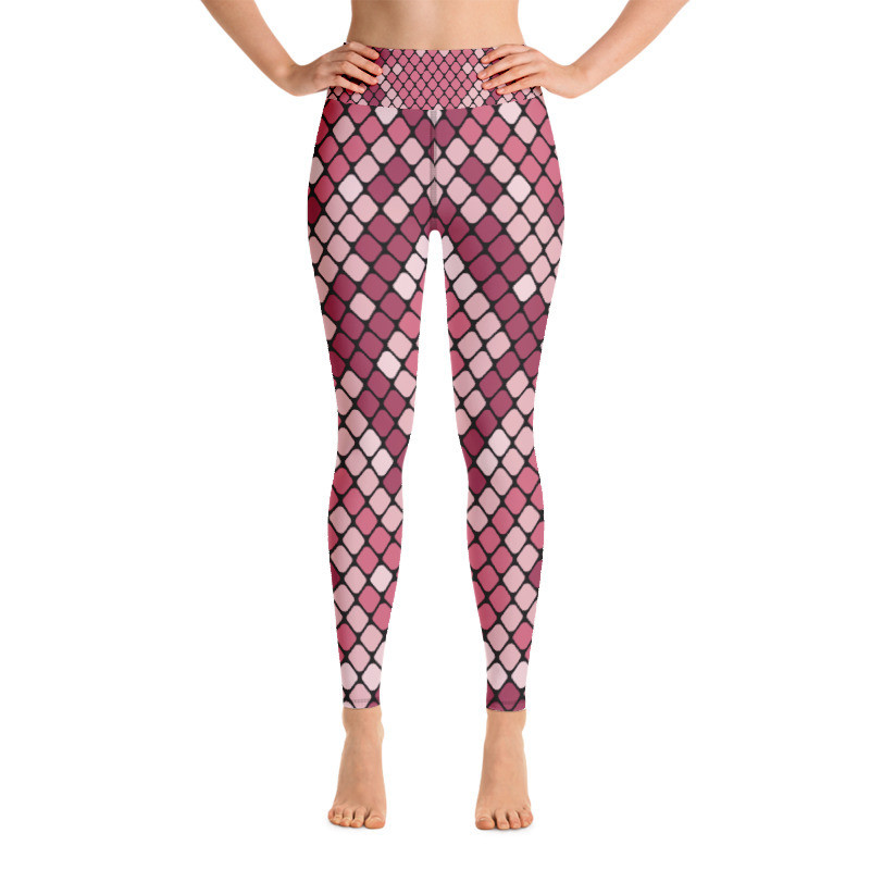 Yoga Leggings Pink Snake