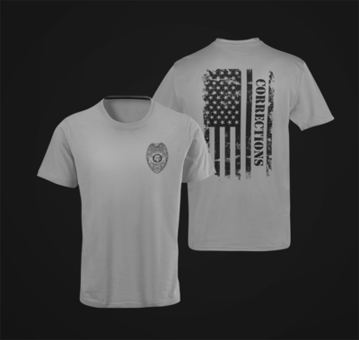 Corrections Distressed Flag Badge Tee