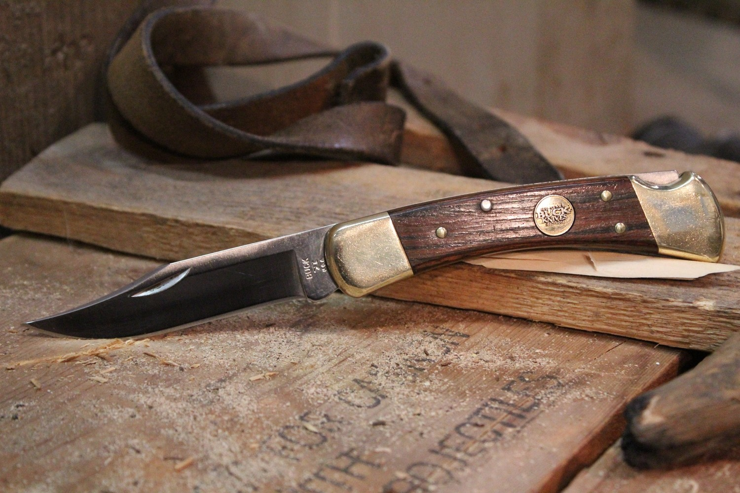 """Buck 110 100th Anniversary  3.75"""" Manual Folding Knife, Rosewood / Satin ( Pre Owned )"""