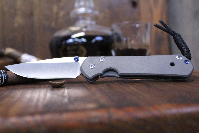 """Chris Reeve Large Sebenza 21 3.625"""" Folding Knife, Titanium / Stonewashed S35VN"""