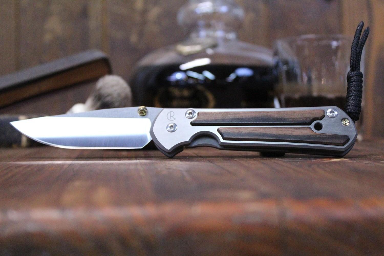 """Chris Reeve Large Sebenza 21 3.625"""" Folding Knife, Titanium with Macassar Ebony Wood Inlays / Polished S35VN"""