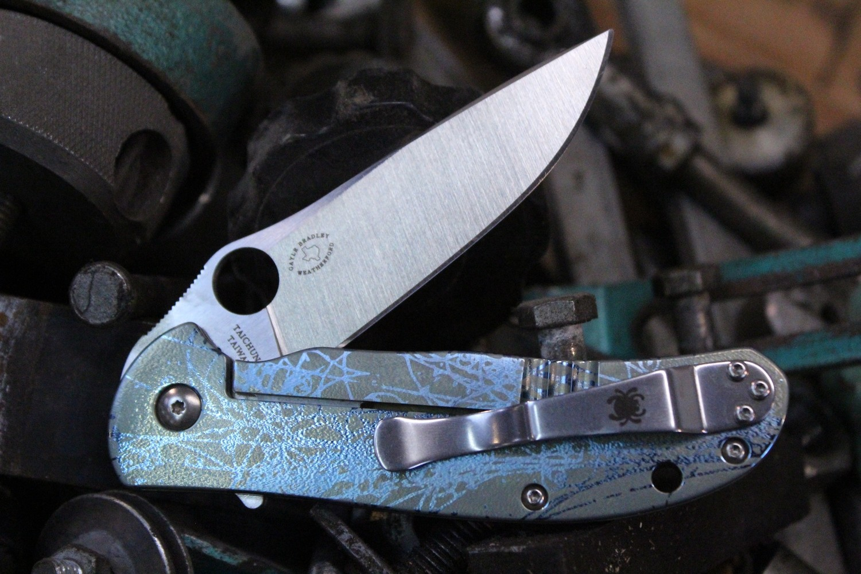 "Spyderco Advocate 3.5""  Frame Lock Knife, Custom Anodized Titanium / Satin (Pre Owned)"