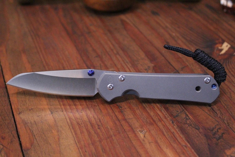 """Chris Reeve Small Sebenza 21 Insingo 2.94"""" Folding Knife, Stonewashed S35VN / Titanium"""