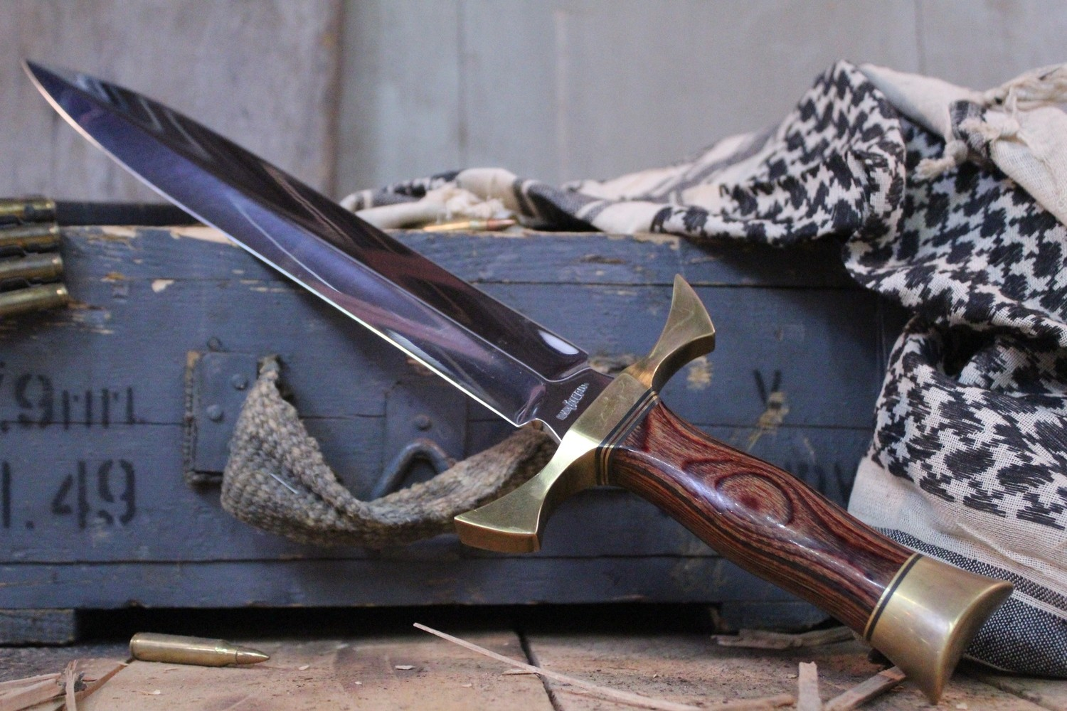 """Gil Hibben Knives Classic 12"""" Dagger, Rosewood & Brass / Polished High Carbon Steel - Produced 1970"""