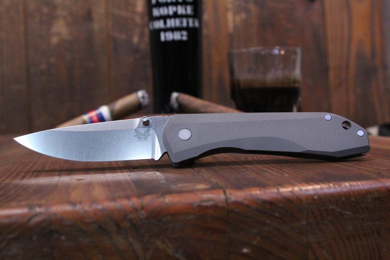 "Benchmade 761 Monolock 3.73"" Titanium Knife / Satin - Custom Tip Up (Discontinued)"