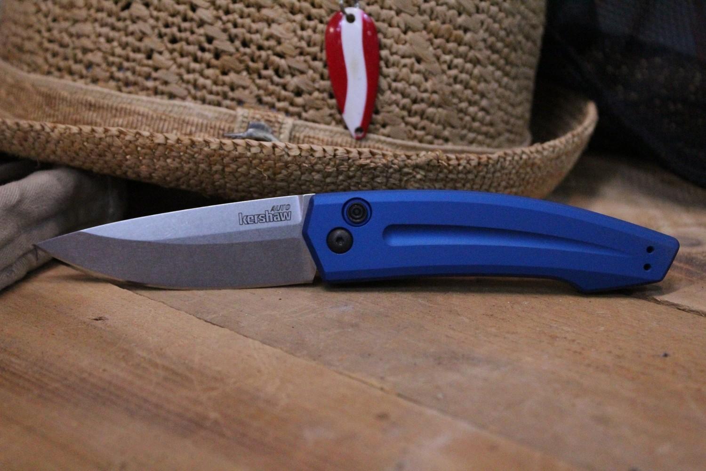 """Kershaw Launch 2 3.4"""" Automatic Knife, Blue Aluminum / Stonewash"""