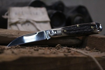 """GEC #06 Tidioute Cutlery Pemberton 2.75"""" Pocket Knife, Sambar Stag / Polished 1095 ( Pre Owned )"""