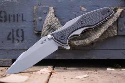 "Zero Tolerance 0393GLCF Hinderer 3.5"" Frame Lock Knife / Glow In Dark Carbon Fiber / Bead Blast"