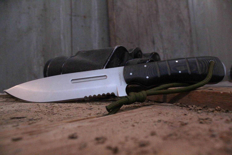 "Bill Maynard Sere Fighter 6"" Fixed Blade Knife, Black Micarta / Satin High Carbon Steel ( Pre Owned )"