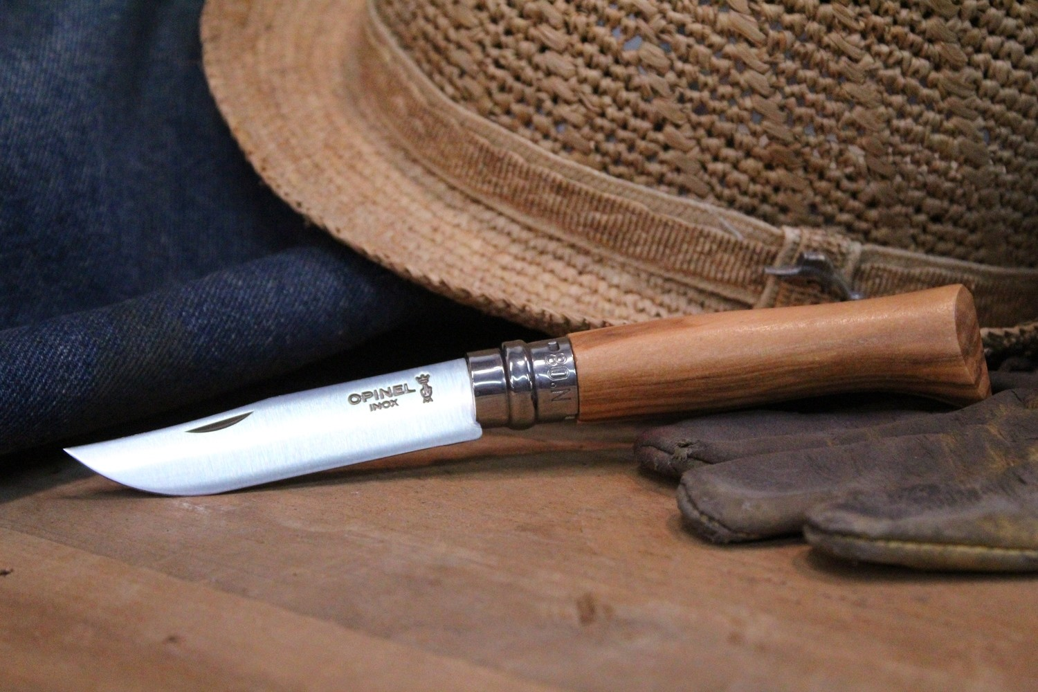 """Opinel Knives No. 8 3.25"""" Knife, Olivewood / Satin Stainless Steel"""