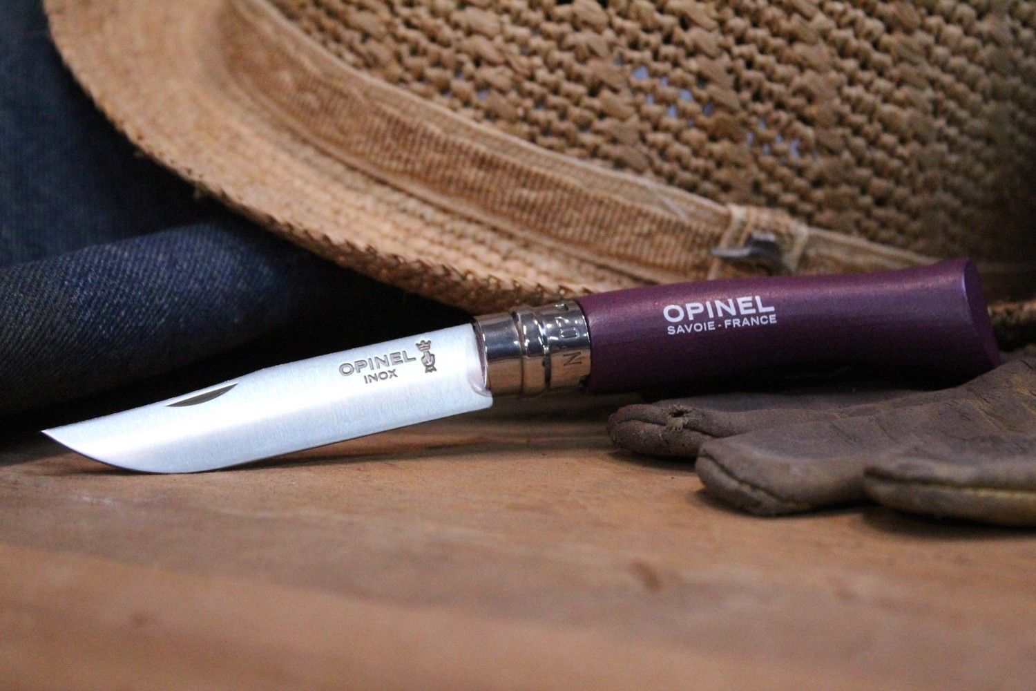 "Opinel Knives No. 7 3.06"" Knife, Plum Purple / Satin Stainless Steel"