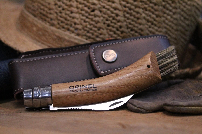 "Opinel Knives No. 8 Mushroom 2.875"" Knife + Sheath & Gift Box, Oak /  Satin"