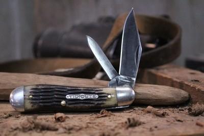 "GEC Classic #56 Tidioute Cutlery Dogleg Jack 2.5"" Pocket Knife, Jigged Bone / Polished 1095 ( Pre Owned )"