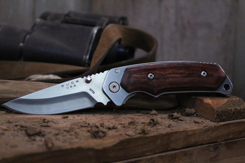 "Buck Alpha Hunter 3.25"" Liner Lock Folding Knife, Rosewood / Satin ( Pre Owned )"
