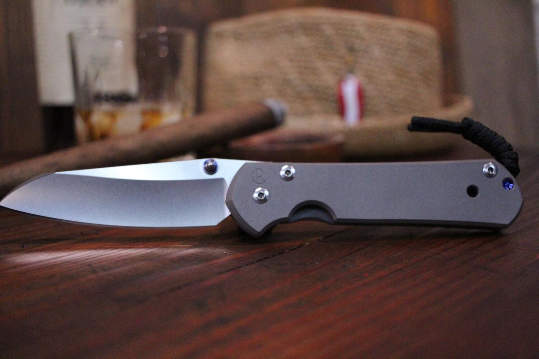 """Chris Reeve Large Sebenza 21 Insingo 3.625"""" Knife, Stonewash Titanium / Polished ( Pre Owned )"""