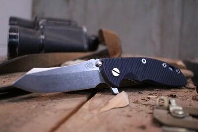 Hinderer Knives XM-18 3.5 Skinner Frame Lock Knife, Black & Blue G-10 / Stonewash ( Pre Owned )