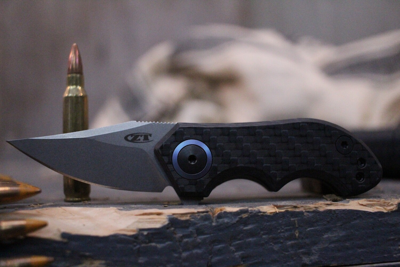 "Zero Tolerance 0022 1.8"" Small Galyean Frame Lock Knife / Carbon Fiber / Stonewash"