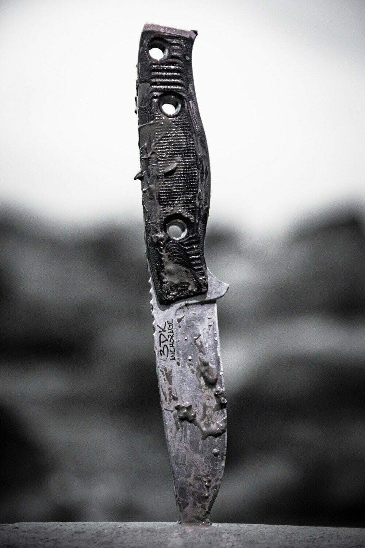"3DK MAK 4"" Fixed Drop Point, K110 Blade / Black G10 handle"