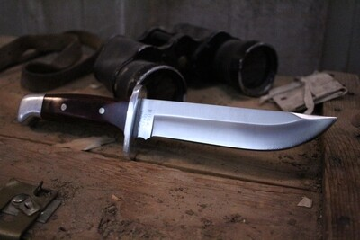 """Buck Classic Model 124 7.5"""" Fixed Blade, Rosewood Handle / Satin Clip Point (  Pre Owned )"""