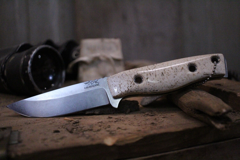 "3DK MAK 4"" Fixed Drop Point, N690 Blade / Walrus Jaw Bone Handle"