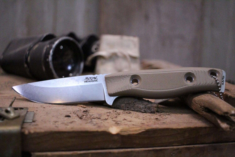 "3DK MAK 4"" Fixed Drop Point, Elmax Blade / Desert Tan G10 handle"