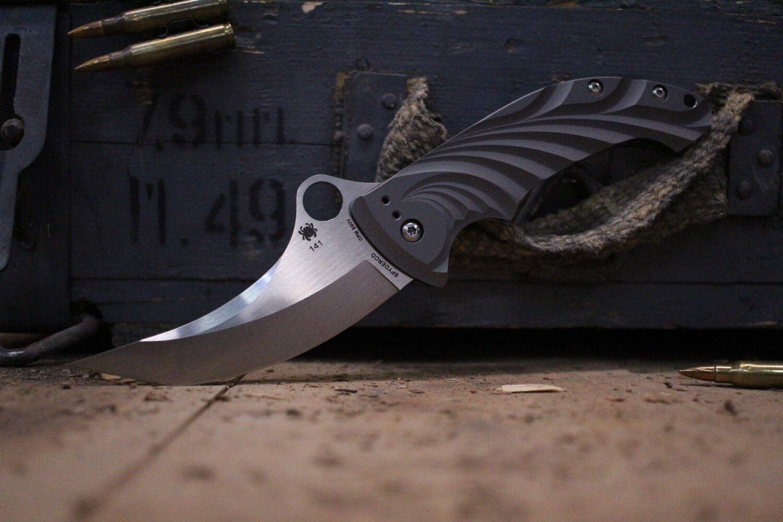 "Spyderco Tighe Stick 3.9"" Frame Lock Knife, Titanium / Satin S90V  ( Pre Owned )"