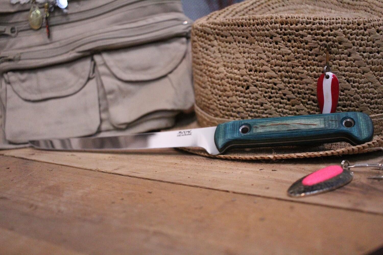 "3DK Fisher 8"" Fillet Knife,  Green Dymondwood"