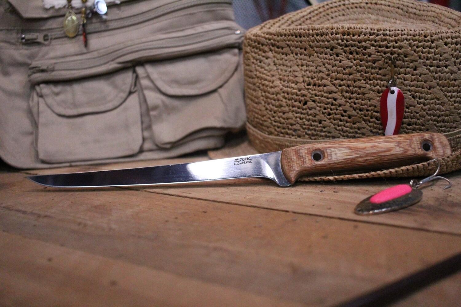 """3DK Fisher 8"""" Fillet Knife,  Hazelnut Dymondwood"""