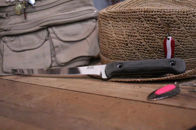 """3DK Fisher 8"""" Fillet Knife,  Black Micarta"""