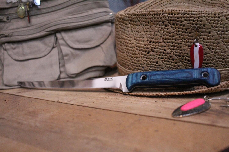 "3DK Fisher 8"" Fillet Knife,  Blue Dymondwood"