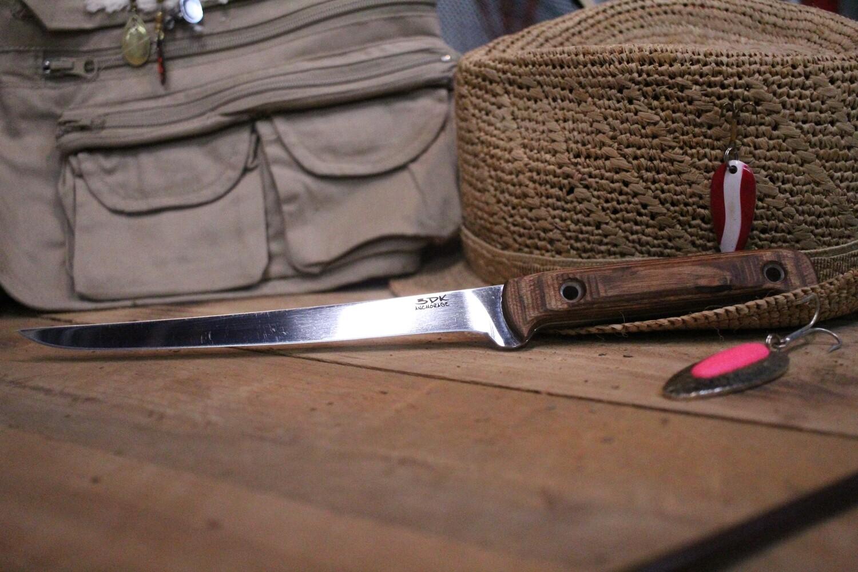 """3DK Fisher 8"""" Fillet Knife,  Walnut Dymondwood"""
