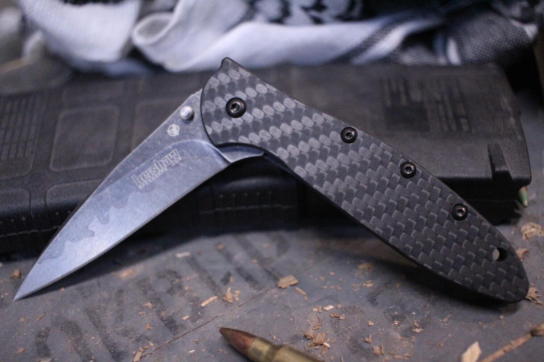 """Kershaw Leek 3"""" Assisted Opening Knife, Carbon Fiber / Sandvik & D2 Composite"""