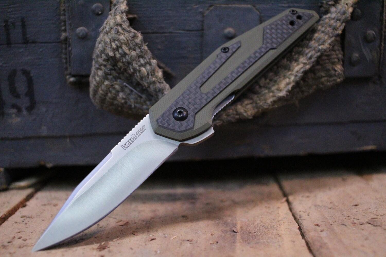 "Kershaw Fraxion 2.75"" Flipper Knife, Carbon Fiber & OD G10 / Satin"