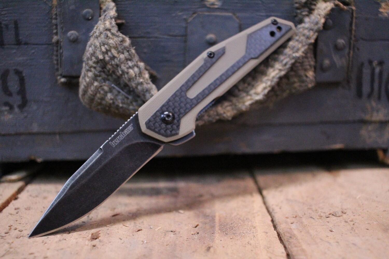 """Kershaw Fraxion 2.75"""" Flipper, Carbon Fiber & Tan G10 / Black Wash"""