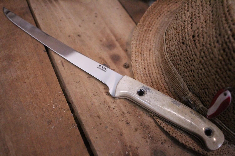 """3DK Fisher 8"""" Fillet Knife,  Caribou (Reindeer) Handle"""
