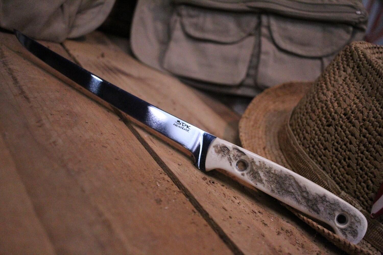 """3DK Fisher 8"""" Fillet Knife,  Moose Handle"""