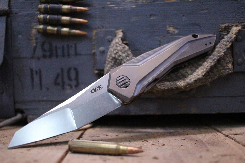 "Zero Tolerance 0055 GTC 3.75"" Flipper Knife / Custom Anodized Titanium / Stonewash"