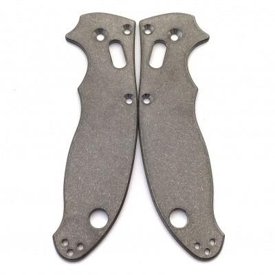 Flytanium Custom Titanium Scales for Spyderco Manix 2,  Stonewash