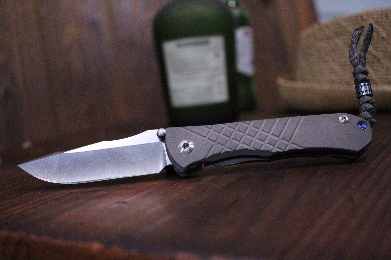 "Chris Reeve Umnumzaan 3.675"" Folding Knife, Milled Titanium / Stonewashed S35VN"