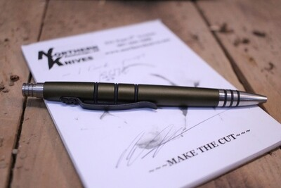 Tuff-Writer Mini Click Series Retractable Pen, OD Green Aluminum