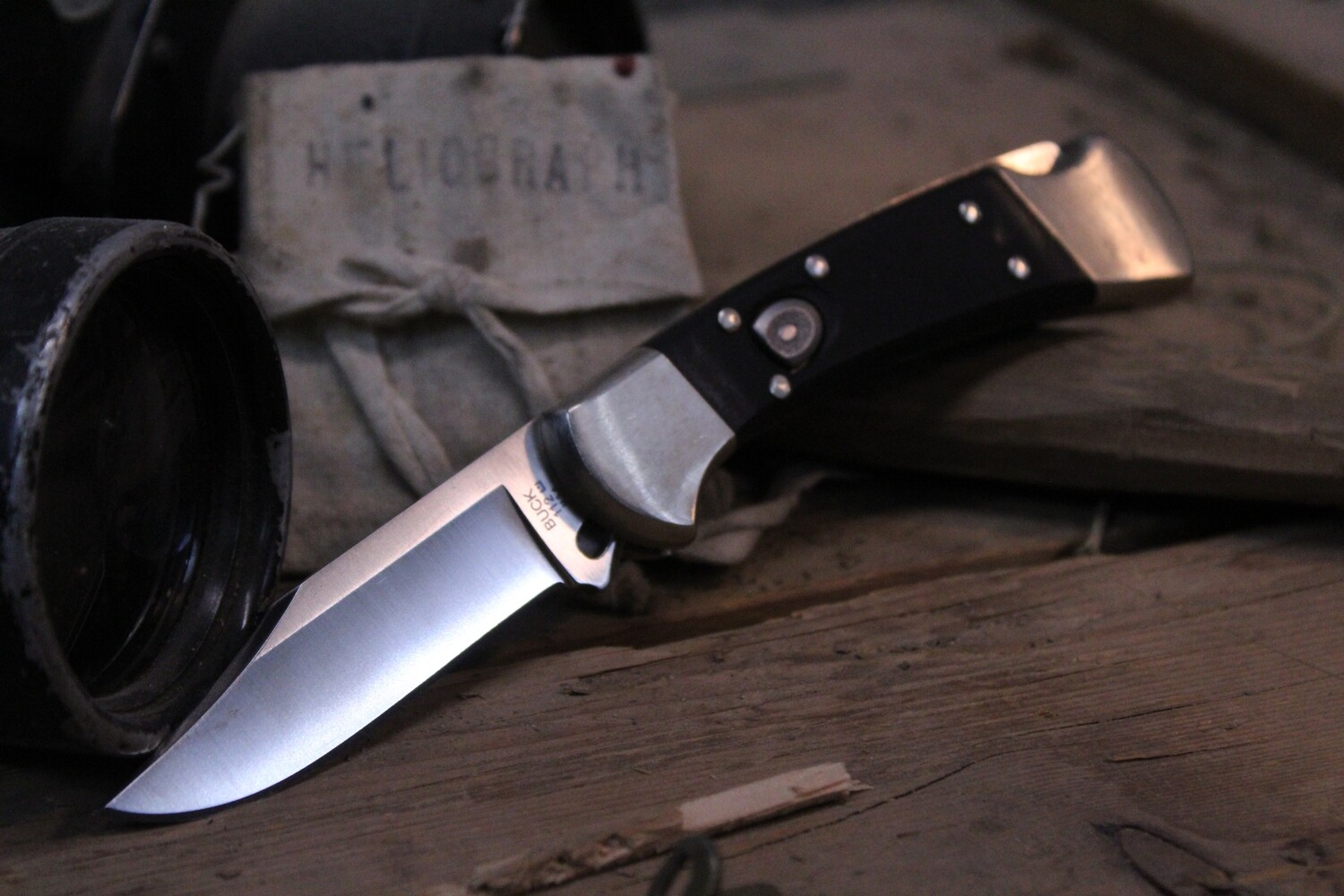 """Buck 112 3"""" Automatic Knife, G10 & Nickel / Satin S30V ( Pre Owned )"""