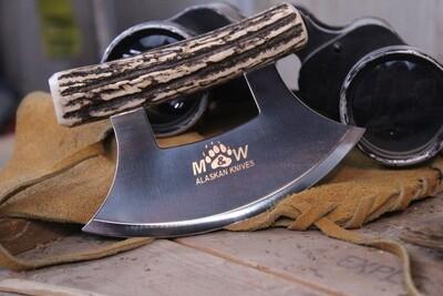 M&W Alaskan Knives Ulu, Alaskan Stainless / Sambar Stag Handle
