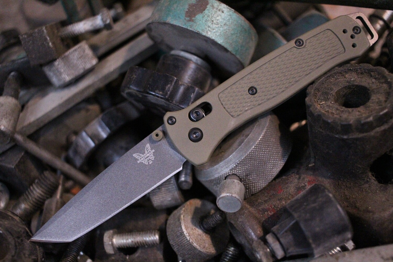 "Benchmade Bailout 3.38"" Tanto AXIS Lock Knife / OD Green Grivory / Custom Cobalt Cerakote / 3V (Pre-Owned)"