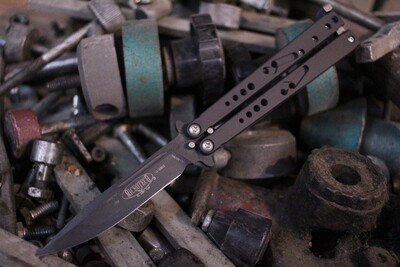 """Microtech Classic Dragonfly 3.75"""" Balisong Butterfly Knife, Black / Black Plain"""