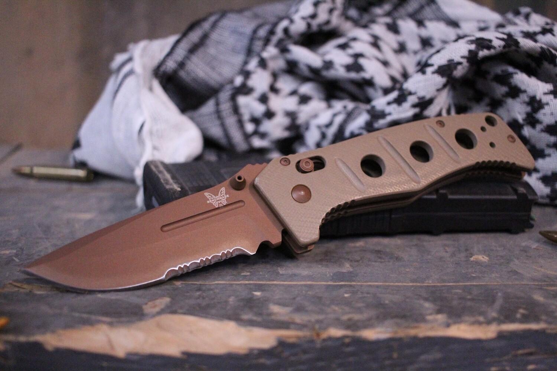 "Benchmade Adamas 3.82"" AXIS Lock Knife / Sand G10 / Custom Copper Cerakote"