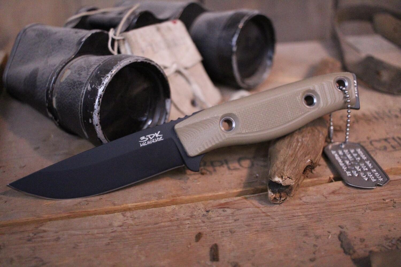 "3DK MAK 4"" Fixed Drop Point, Black Cerakote Elmax Blade / Desert Tan G10 handle"