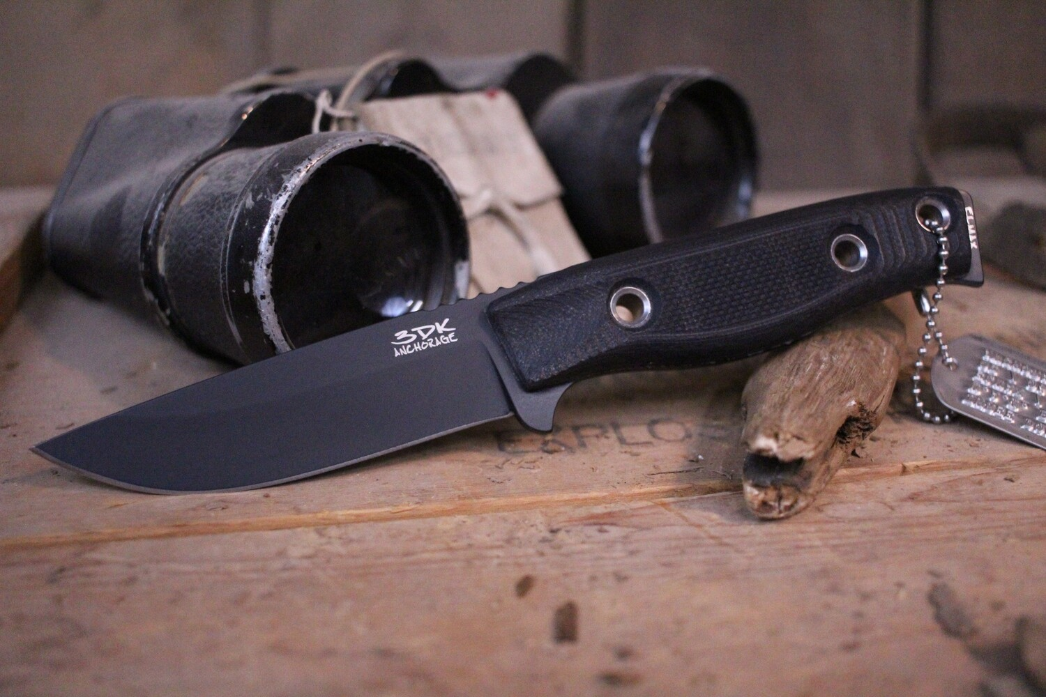 "3DK MAK 4"" Fixed Drop Point, Black Cerakote N690 Blade / Black G10 Handle"